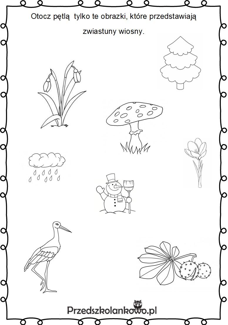 Znalezione obrazy dla zapytania: karty pracy wiosna przedszkole