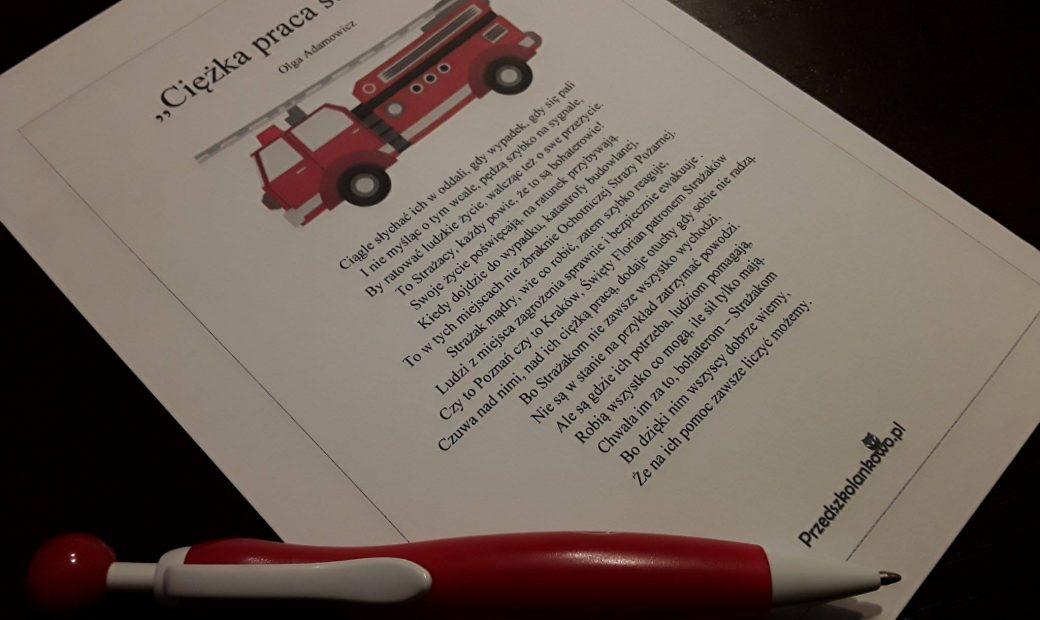 Ciężka Praca Strażaka Wiersz Plansze Przedszkolankowo