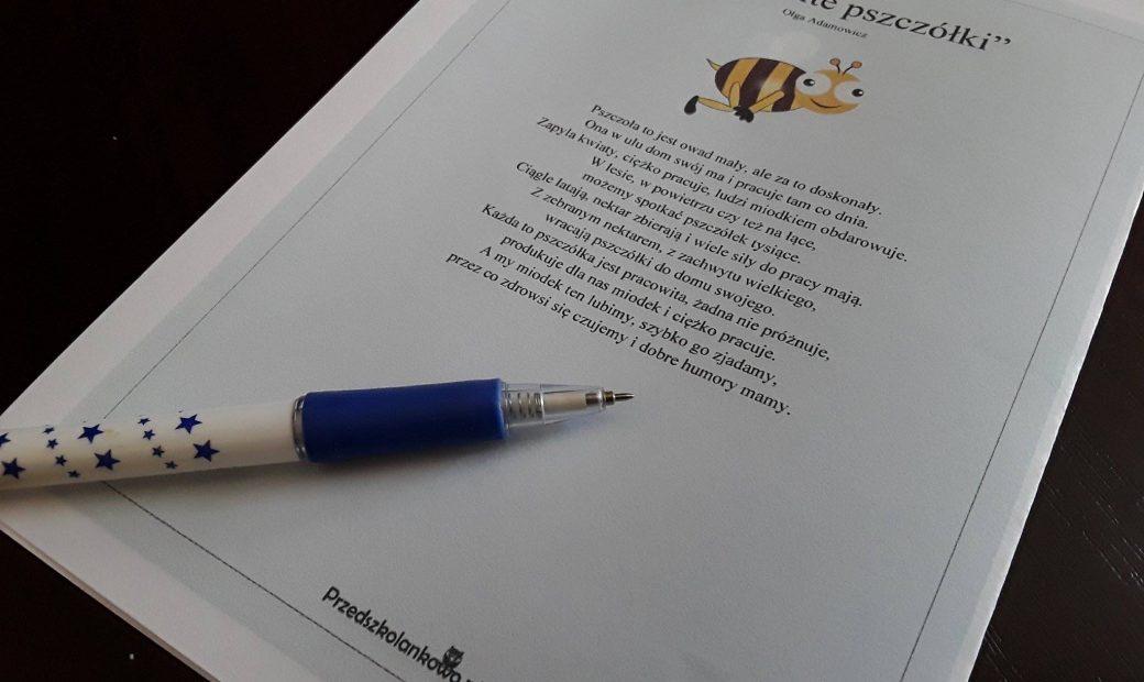 Pracowite Pszczółki Tekst Wiersza Plansze