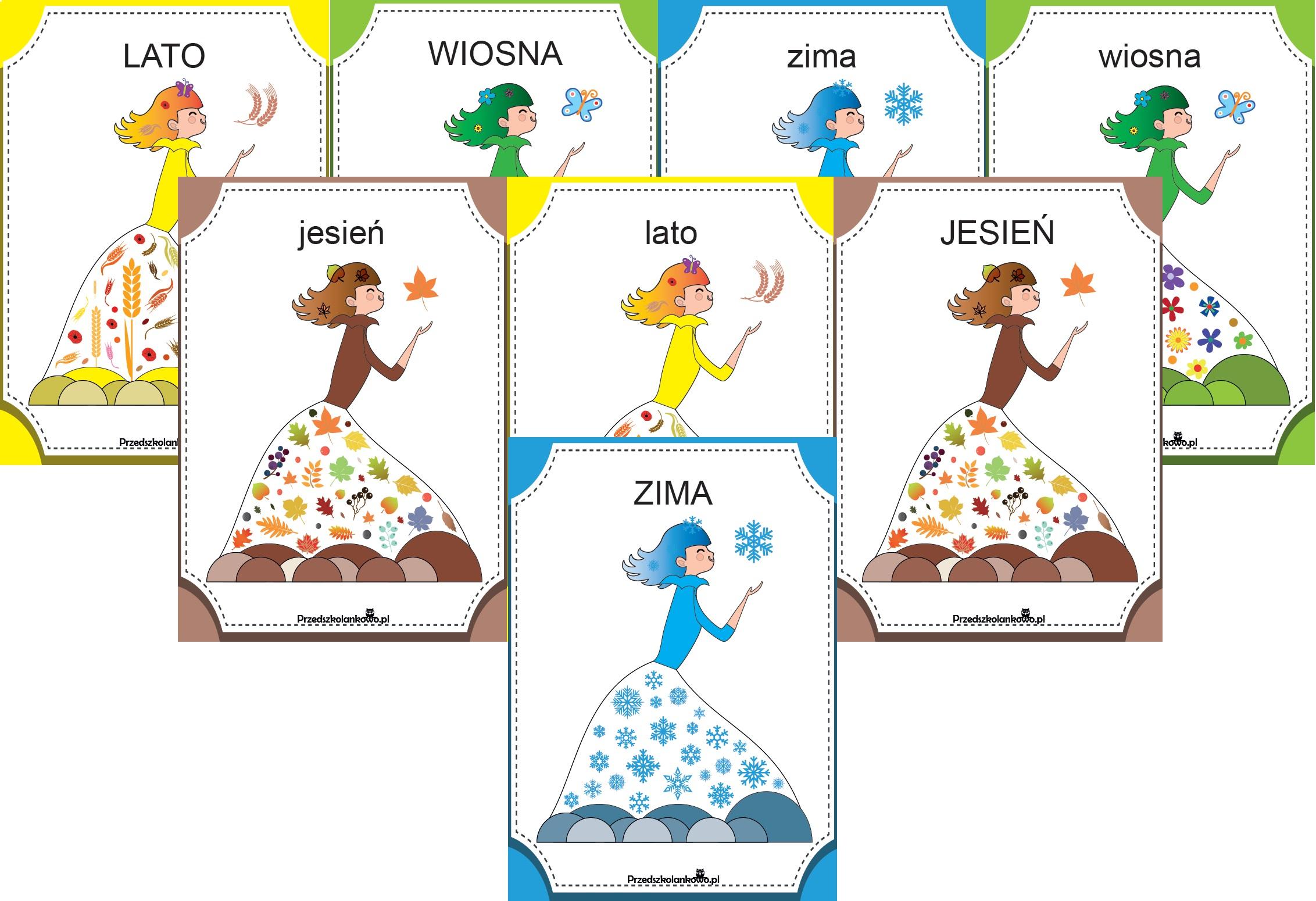 Pory Roku Plansze Karty Pracy Etykiety Emblematy Przedszkolankowo